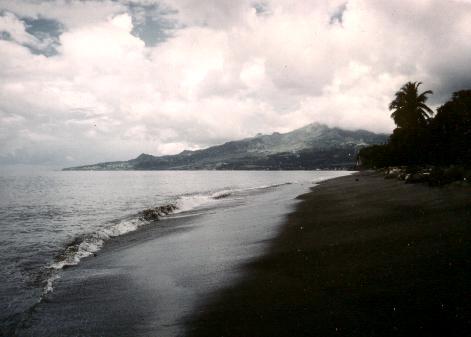Mount Pele Martinique From Black Sand Beach Near Port Au